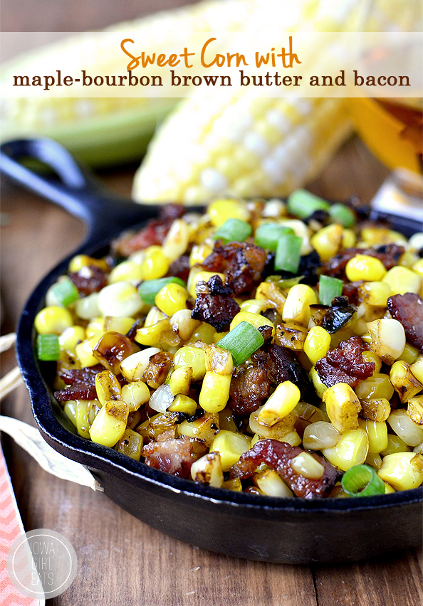 Sweet Corn with Maple-Bourbon Brown Butter and Bacon is a mouthwatering side dish bursting with layers of flavor! | iowagirleats.com