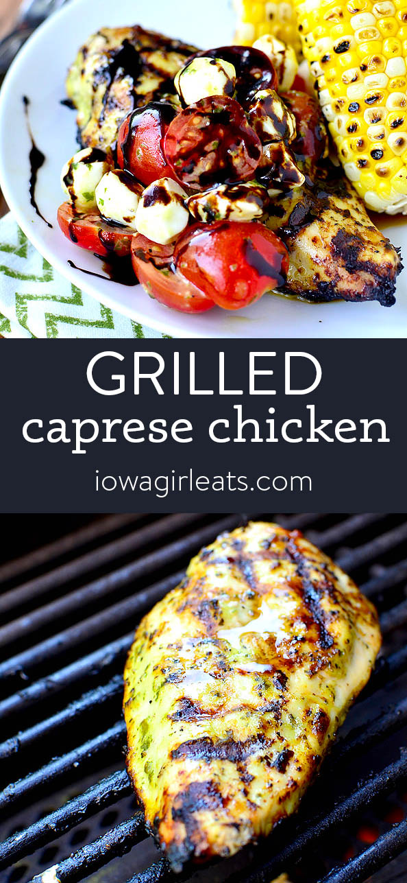 Photo collage of grilled caprese chicken