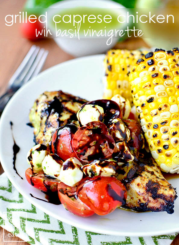 grilled caprese chicken with balsamic reduction on a plate