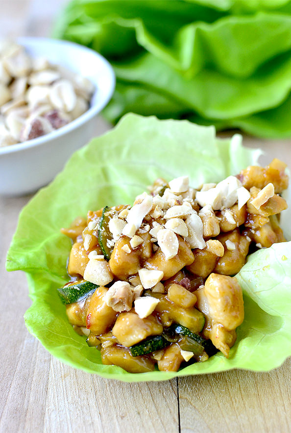 Kung Pao Chicken Lettuce Wraps are absolutely mouthwatering. Probably my favorite take out fake out dish to date! | iowagirleats.com