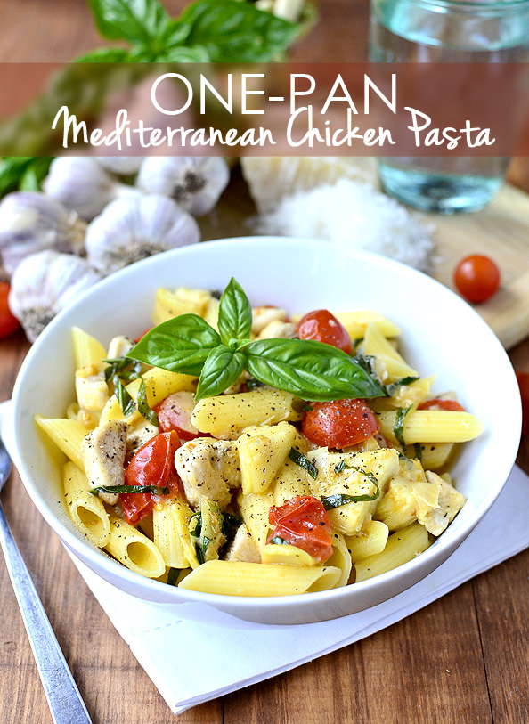 One-Pan Mediterranean Chicken Pasta is a quick, 30-minute meal gluten-free meal that's full of fresh flavor! | iowagirleats.com