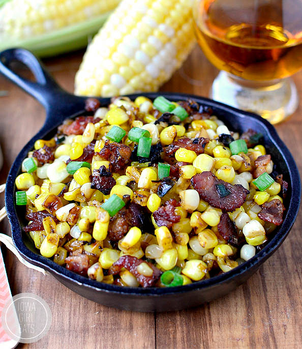 brown butter sweet corn in a skillet