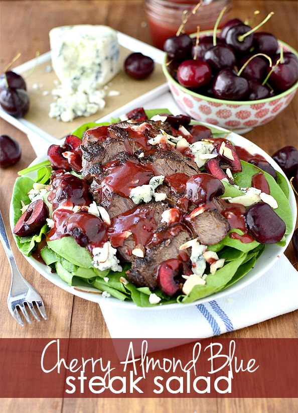 Cherry Almond Blue Steak Salad with Cherry Balsamic Vinaigrette | iowagirleats.com