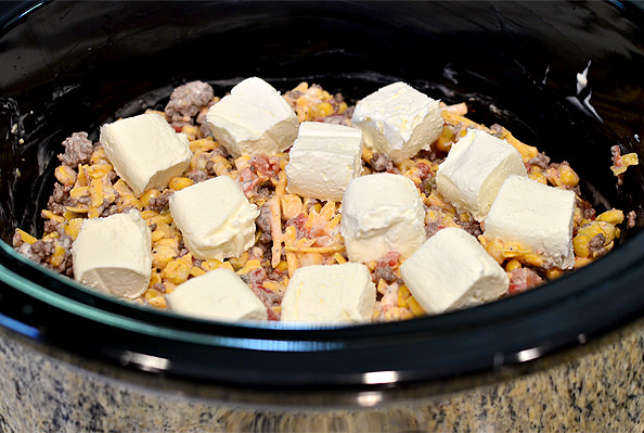 Crock Pot Beef, Sweet Corn and Queso Dip