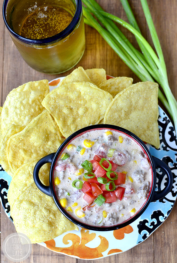 Crock Pot Beef and Sweet Corn Queso Dip #glutenfree | iowagirleats.com