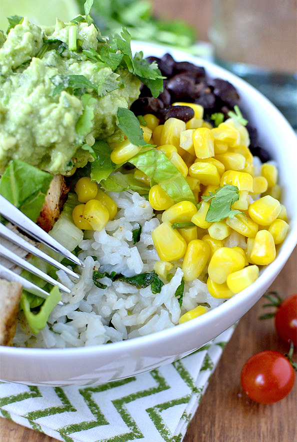 closeup photo of burrito bowl with cilantro lime rice