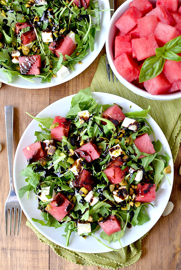 Watermelon, Feta, Basil and Pistachio Salad with Reduced Balsamic Vinaigrette | iowagirleats.com