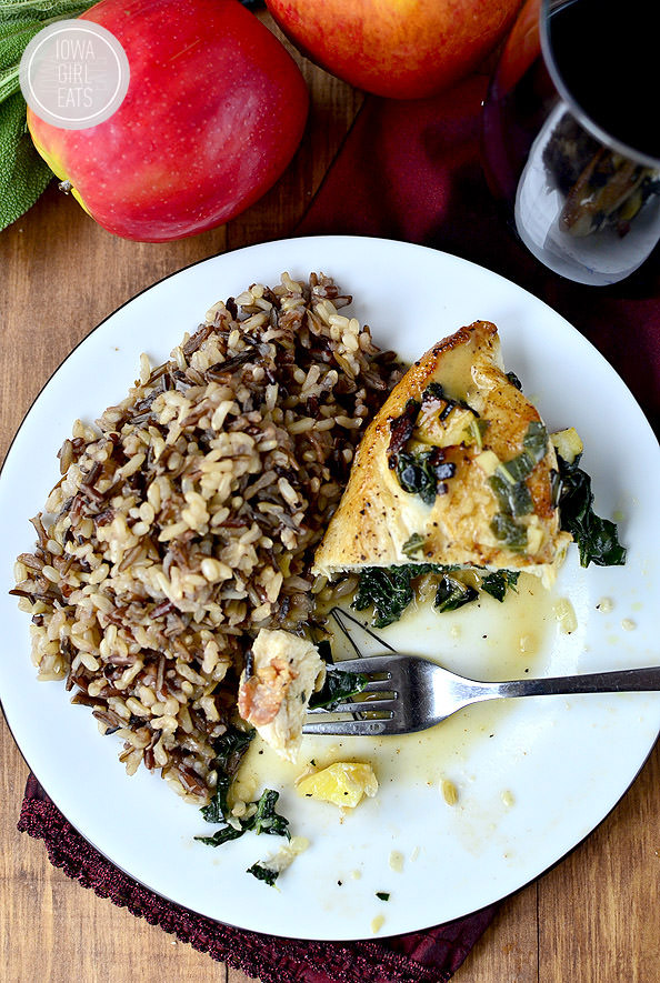 Kale, Apple and Bacon Stuffed Chicken with Maple Mustard Pan Sauce | iowagirleats.com