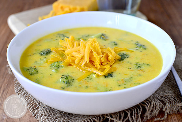 Bowl of broccoli and cheese soup