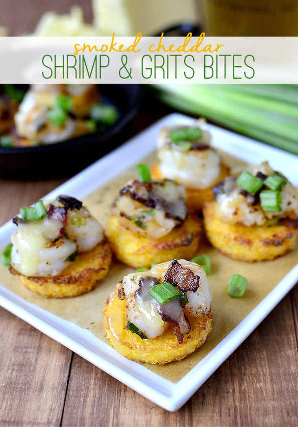 Smoked Cheddar Shrimp & Grits Bites | iowagirleats.com