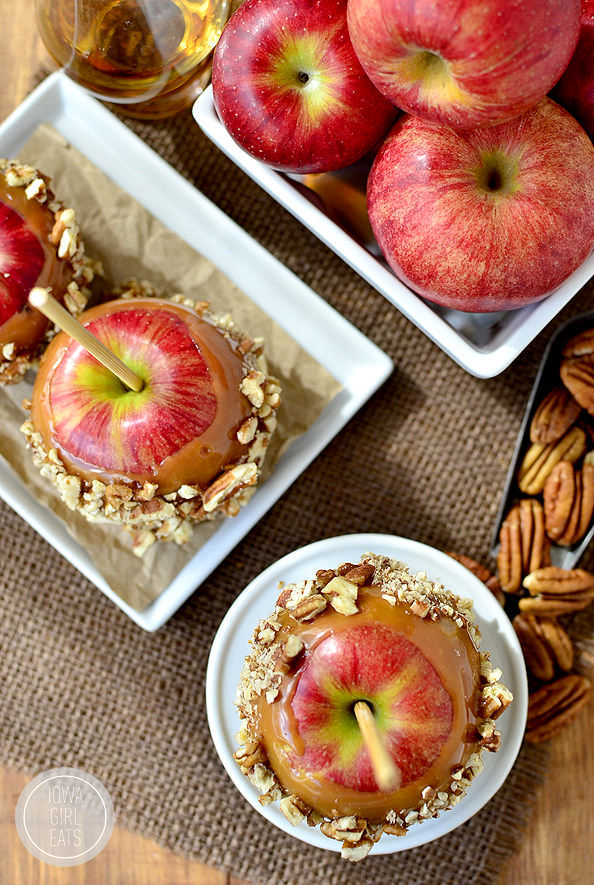 Easy Bourbon-Caramel Apples with Pecans are a grown-up treat for fall and Halloween! #glutenfree | iowagirleats.com