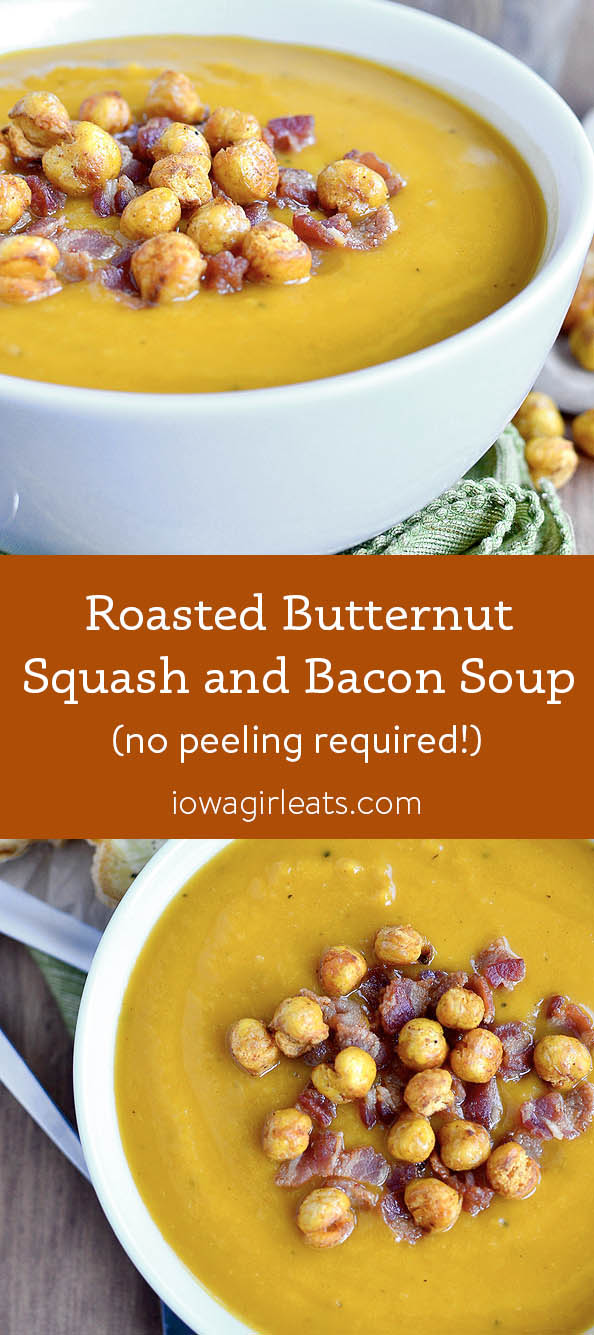 Photo collage of Roasted Butternut Squash and Bacon Soup
