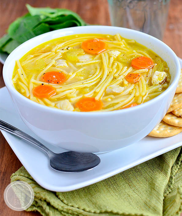 homemade gluten free chicken noodle soup in a bowl