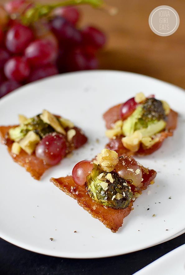 Fig Glazed Bacon Sliders with Brussels Sprouts, Grapes, Walnuts and Mint Yogurt Sauce #appetizer | iowagirleats.com