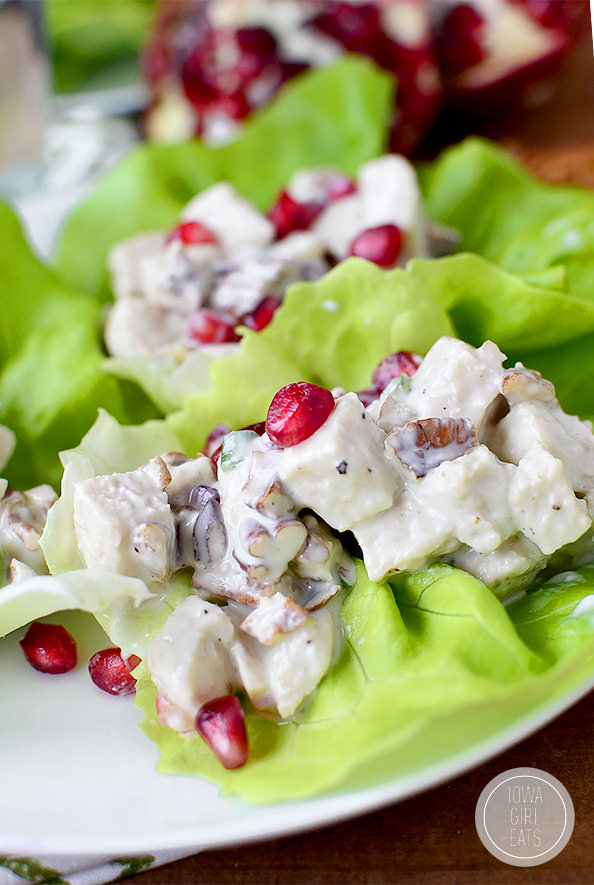 Honey, Pomegranate, Pecan Chicken Salad Lettuce Wraps #glutenfree | iowagirleats.com