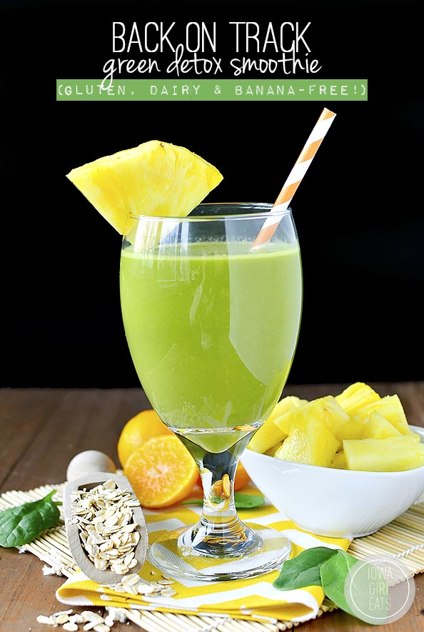 Back on Track Green Detox Smoothie #glutenfree #dairyfree #bananafree | iowagirleats.com