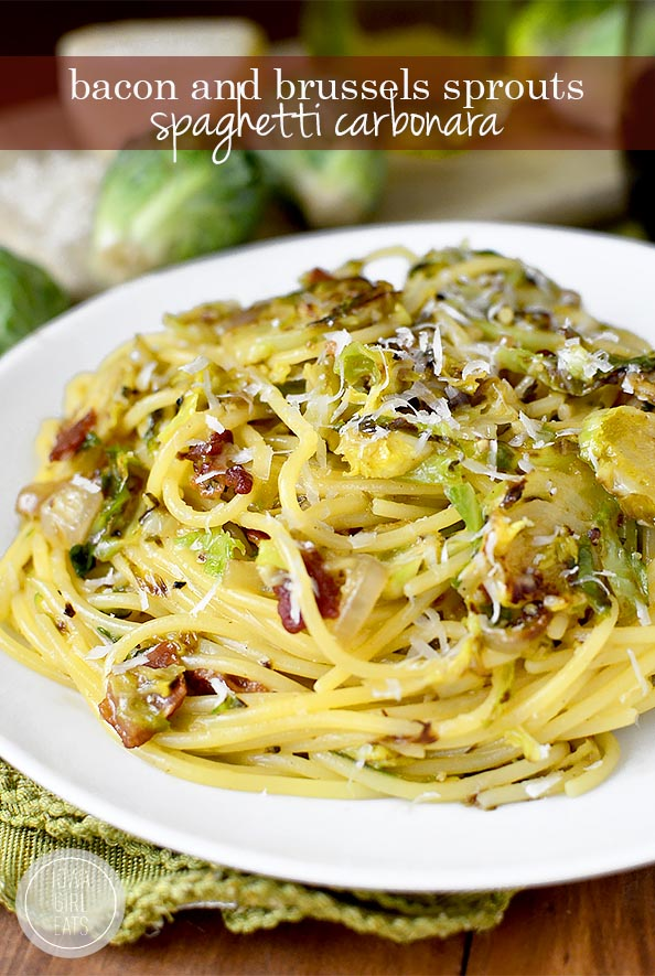 Bacon and Brussels Sprouts Spaghetti Carbonara #glutenfree | iowagirleats.com