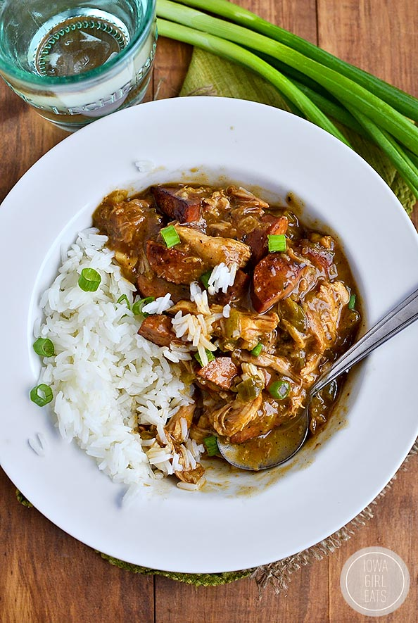 Smoked Sausage and Chicken Gumbo | iowagirleats.com