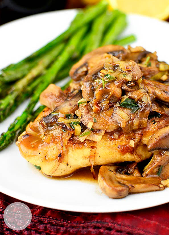 close up photo of leek and mushroom chicken skillet on a plate