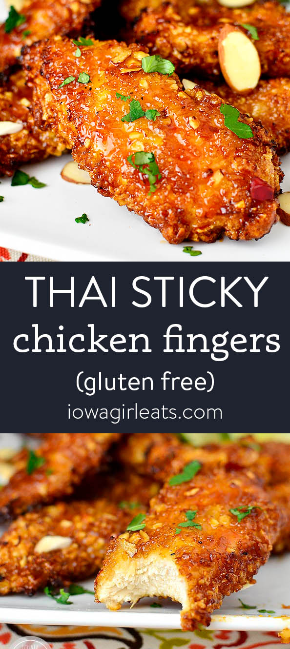 Photo collage of thai sticky chicken fingers