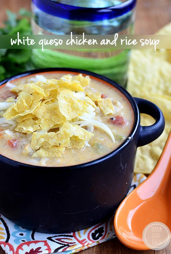 Gluten-free White Queso Chicken and Rice Soup tastes like white queso dip but is made with zero processed cheese. This easy soup recipe is creamy, cheesy and delicious! | iowagirleats.com