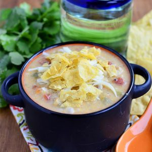 Gluten-Free White Queso Chicken and Rice Soup