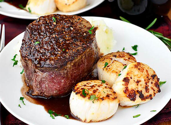 surf and turf for two on plates