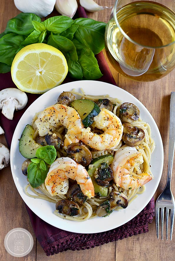 Garlic Mushroom and Zucchini Pasta with Shrimp #glutenfree | iowagirleats.com