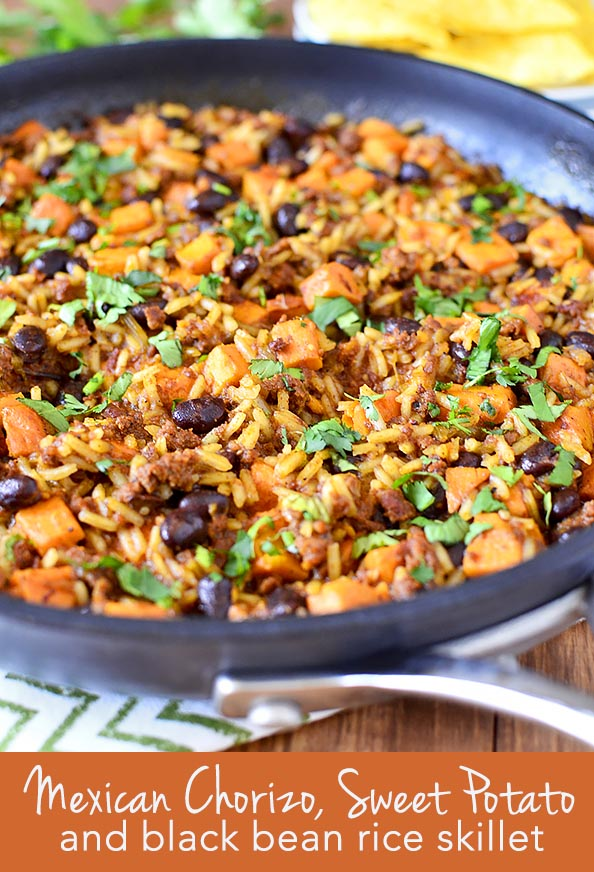 Chorizo Sweet Potato And Black Bean Rice Skillet Iowa Girl Eats