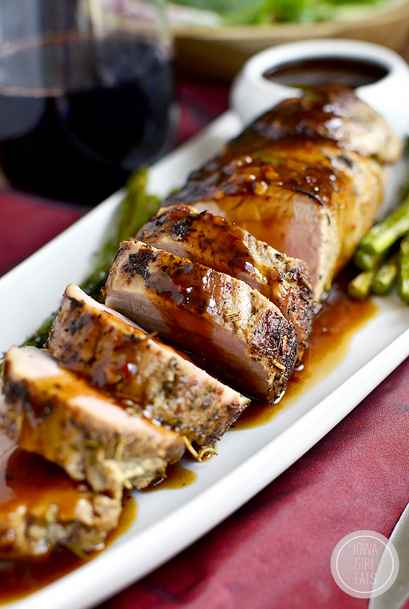 Quick Roasted Pork Tenderloin with Fig and Chili Sauce is a delicious 30 minute meal with bold, mouthwatering flavors. #glutenfree #dairyfree | iowagirleats.com