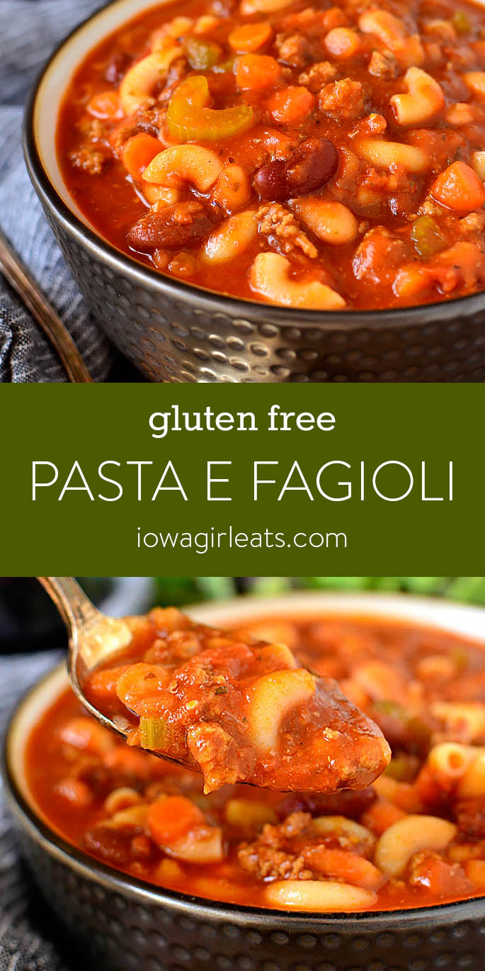 Photo collage of Pasta e Fagioli Soup