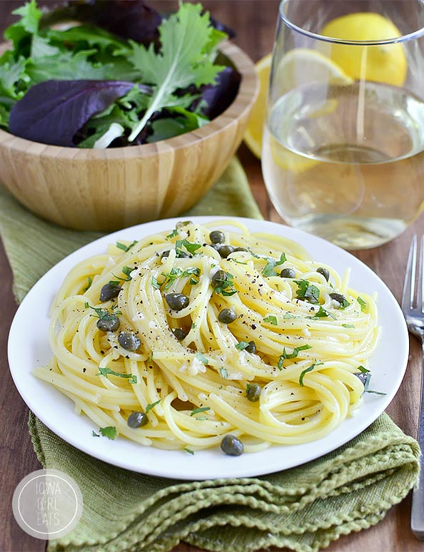 Pasta with Garlic Butter Caper Sauce is a light and flavorful 20 minute supper. You are going to lick your plate clean! #glutenfree | iowagirleats.com
