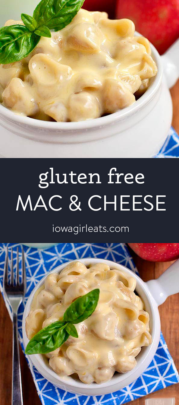 Photo collage of gluten free mac and cheese