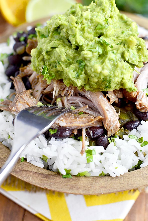 Crock Pot Mojo Pork with Cuban-Style Black Beans is a simple and satisfying long-cooking crock pot recipe. Use to make tacos, nachos, or rice bowls! #glutenfree | iowagirleats.com