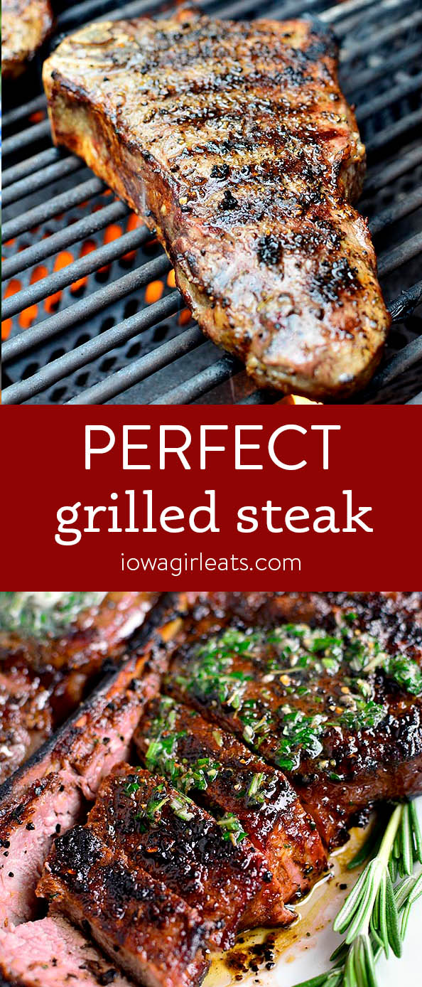 Photo collage of perfectly grilled steaks