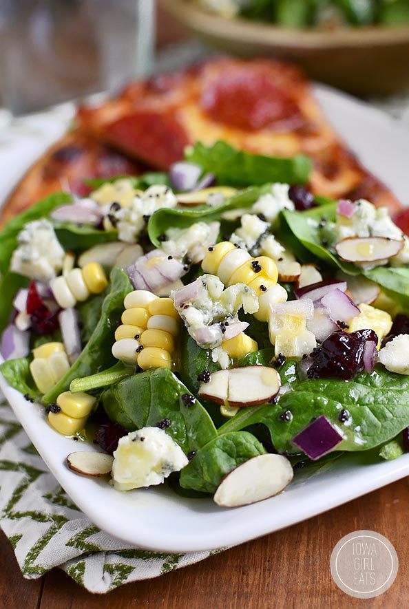 Summer Spinach Salad with Lemon Poppyseed Dressing is full of fresh summer fruits and vegetables! #glutenfree | iowagirleats.com