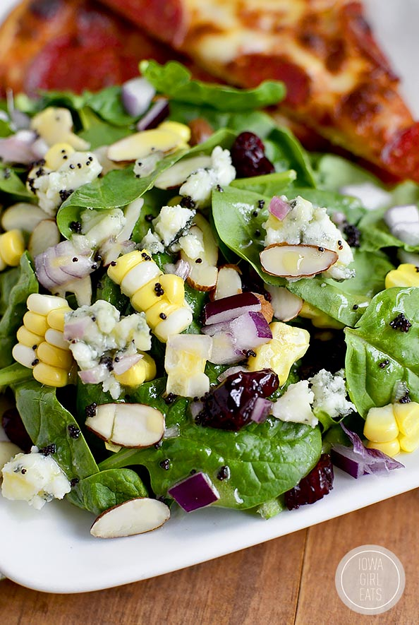 Summer Spinach Salad with Lemon Poppyseed Dressing is full of fresh summer fruits and vegetables!