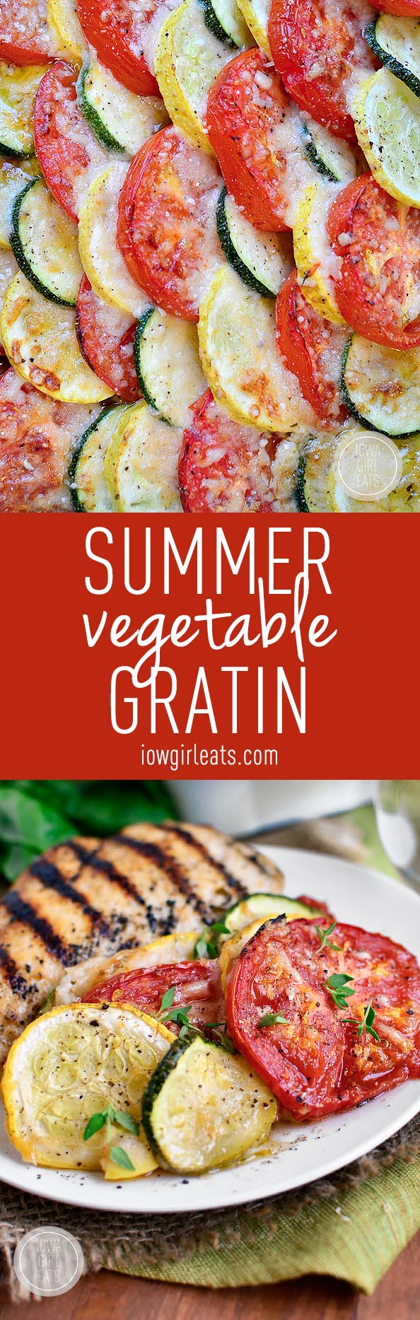 Fresh summer vegetables are sliced, baked, and then layered under parmesan cheese in this simple and fresh Summer Vegetable Gratin! #glutenfree | iowagirleats.com