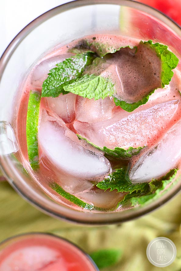 Watermelon Agua Fresca is a refreshing sipper for summer's hottest days. Just 4 ingredients with no added sugar! #glutenfree | iowagirleats.com
