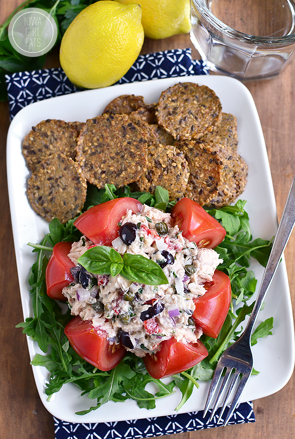 Mediterranean Tuna Salad is fresh and light - serve in a tomato, on a salad, between twi slices of bread, or with crackers! #glutenfree | iowagirleats.com