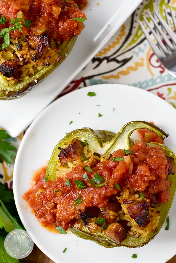 Dirty Rice and Sausage Stuffed Peppers with Red Sauce are health, fresh and totally satisfying! #glutenfree | iowagirleats.com