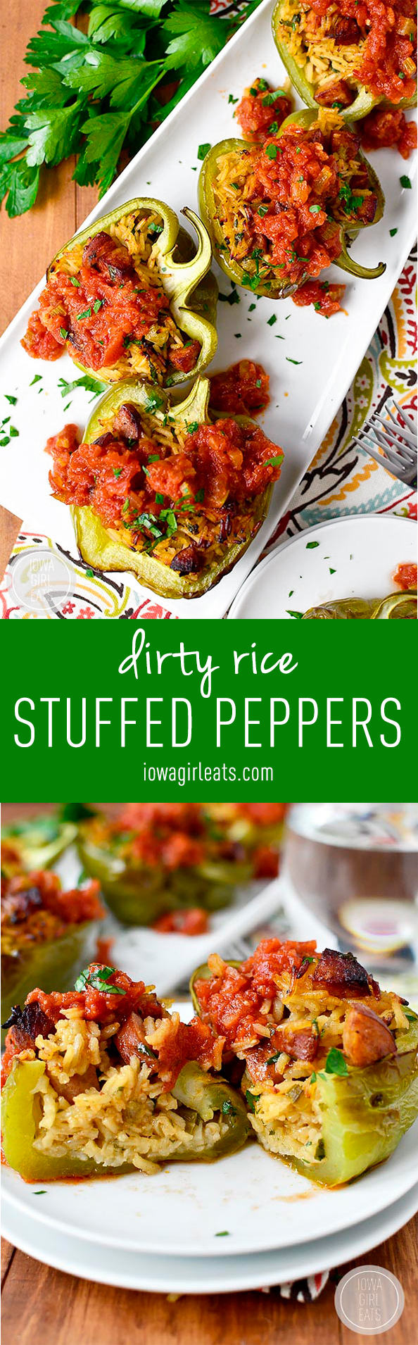 Dirty Rice Stuffed Peppers with Red Sauce are healthy and satisfying! #glutenfree | iowagirleats.com