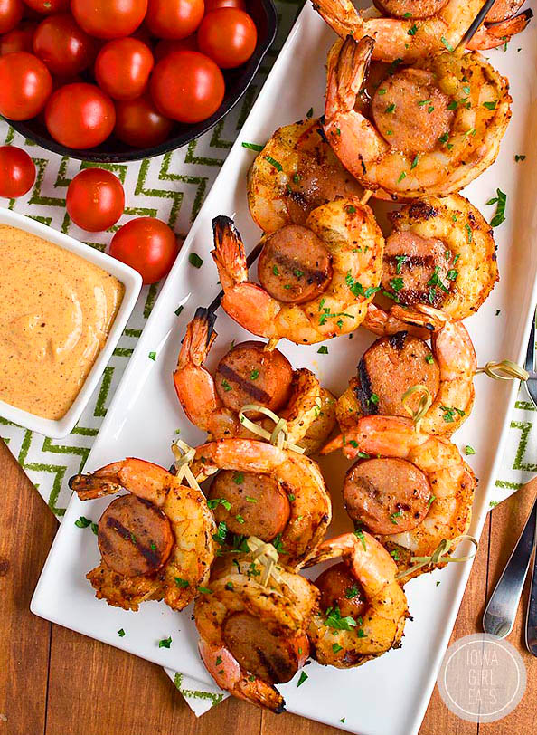 overhead photo of Spicy Shrimp and Sausage Skewers on a platter