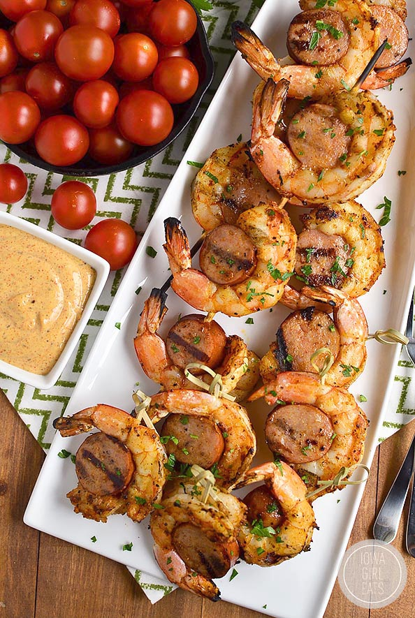 Spicy Shrimp and Sausage Skewers are spicy and savory - they'll fly off the platter! #glutenfree   iowagirleats.com