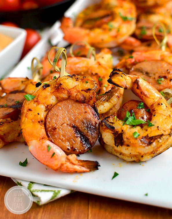 Spicy Shrimp and Sausage Skewers on a platter