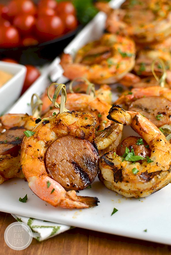 Spicy Shrimp and Sausage Skewers are spicy and savory - they'll fly off the platter! #glutenfree | iowagirleats.com