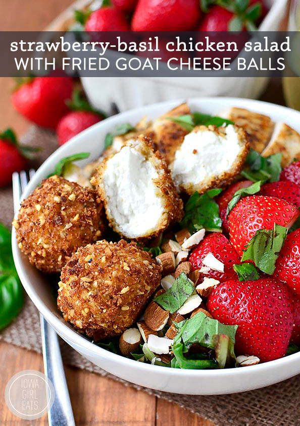 fried goat cheese balls on a strawberry basil chicken salad