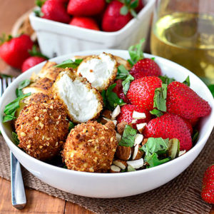 Strawberry-Basil Chicken Salad with Fried Goat Cheese Balls
