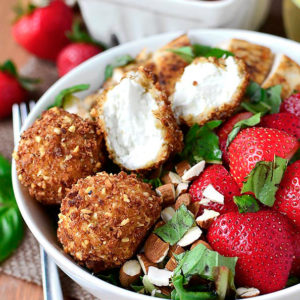 Strawberry-Basil Chicken Salad with Fried Goat Cheese Balls (Video)