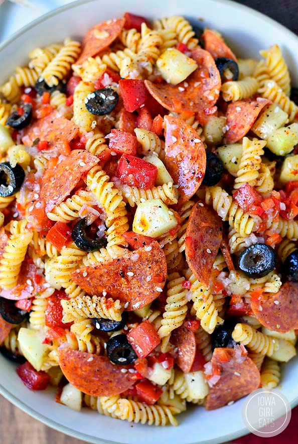 overhead photo of a bowl of pasta salad